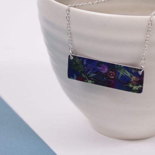Exotic Inspired Indigo Tropical Bar Pendant Necklace