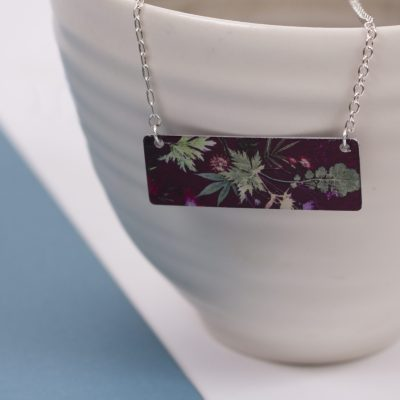 Exotic Inspired Tropical Wine Pendant Necklace