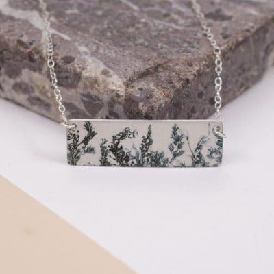 Botanical Inspired Emerald Landscape Bar Pendant Necklace