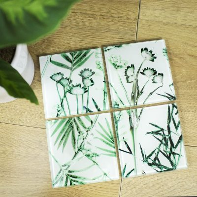 Hot House Fronds | Green & White Set of Glass Coasters