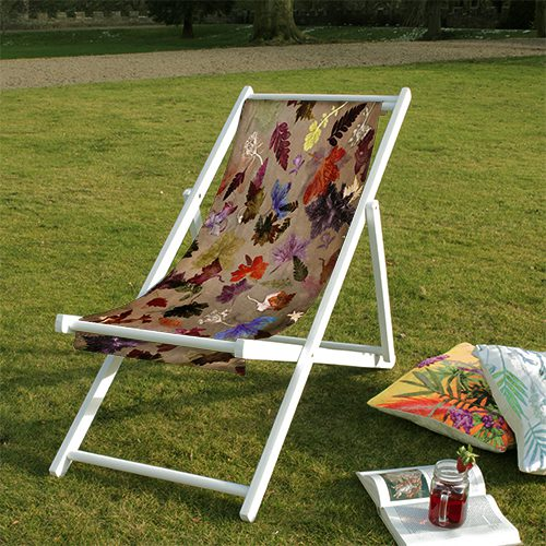 Autumn Flurry | Brown & Red Wood Deckchair, Garden Furniture