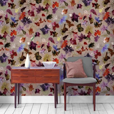 Autumn Flurry | Orange & Red Designer Wallpaper, Country Interior