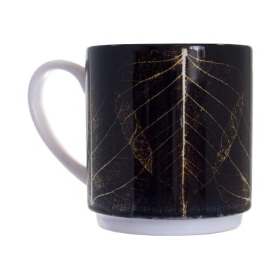 Black Skeletal Leaves Ceramic Mug - Home and Kitchen Accessory