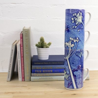 Blue Cow Parsley | White & Blue Stacking Mug, Gift Set of 4