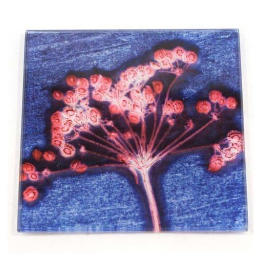 Blue Joyous Spread Botanic Style Glass Coaster