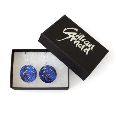 Blue Landscape Stylish Round Earrings and Jewellery Gift Box
