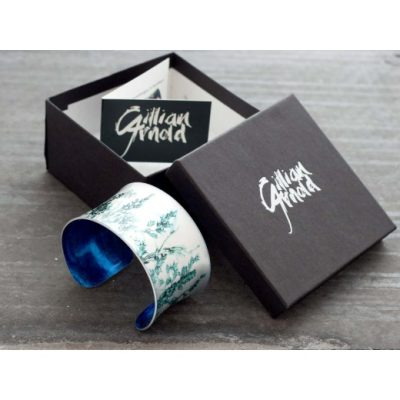 Botanical Design Emerald Landscape Aluminium Cuff Jewellery Gift