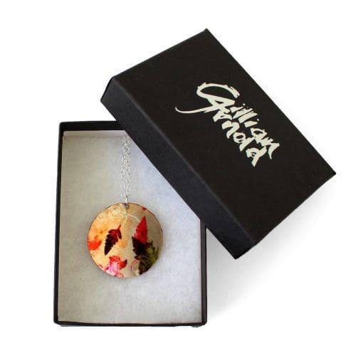 Botanical Inspired Autumn Flurry Pendant Necklace Box