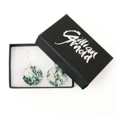 Botanical Inspired Emerald Landscape Round Earring Set. Stylish Jewellery Gift Box