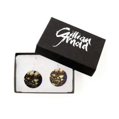 Botanical Inspired Plum Fern Round Earring Set. Stylish Jewellery Gift Box
