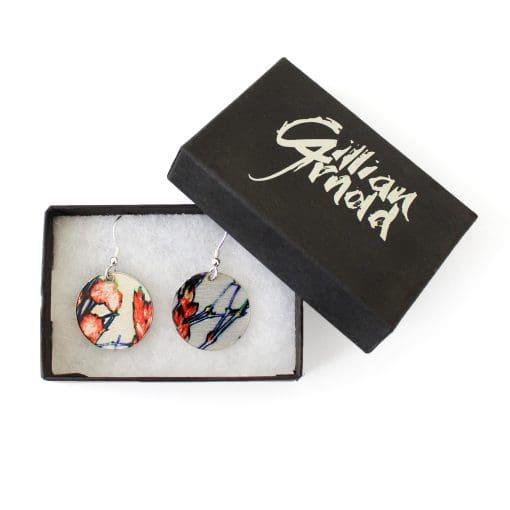 Botanical Inspired Tangerine Branch Round Earring Set. Stylish Jewellery Gift Box