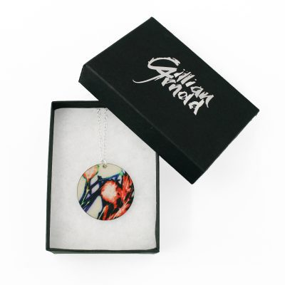 Botanical Inspired Tangerine Branch Round Pendant Necklace Box