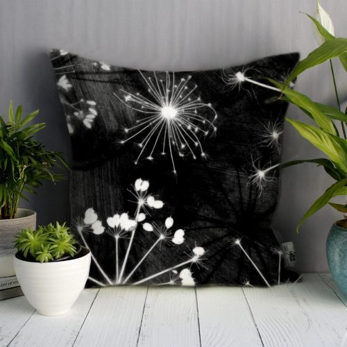Black Cow Parsley | White & Black Sofa Cushion Country Style