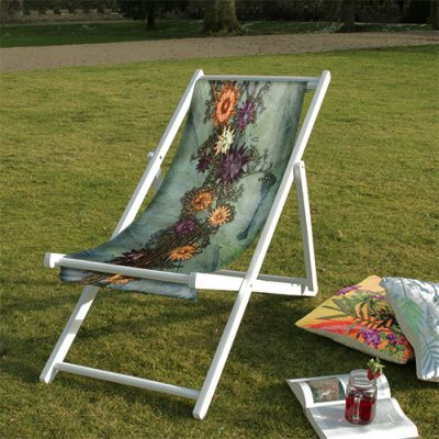 Branching Astrantia | Orange & Purple Wood Deckchair, Outdoor Furniture