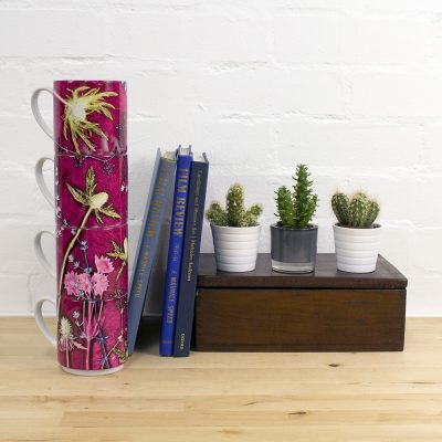 Fuchsia Thistle | Green & Pink Stacking Mug, Gift Set of 4