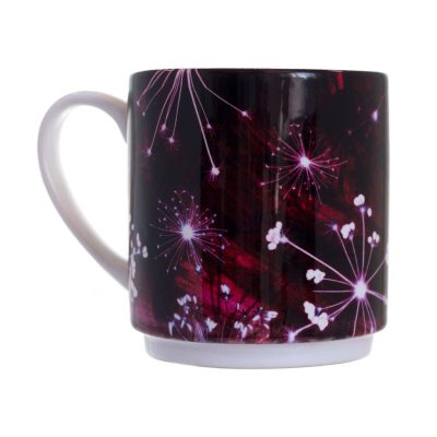 Burgundy Cow Parsley Ceramic Mug - Home and Kitchen Accessory