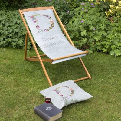 Floral Initial Deckchair | Personalised Wood Deckchair, Garden Furniture