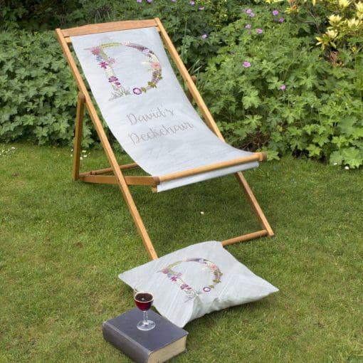 Floral Initial Deckchair | Personalised Wood Deckchair, Garden Furniture