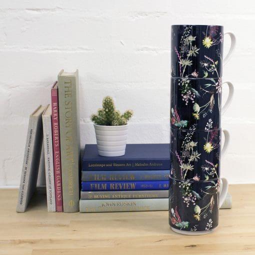 Edwardian Bloom | White & Brown Stacking Mug, Gift Set of 4