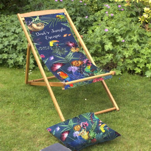 Jungle Surprise | Personalised Wood Deckchair, Garden Furniture