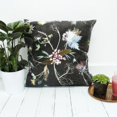 Edwardian Blooms | Dark Chocolate & White Sofa Cushion Country Style