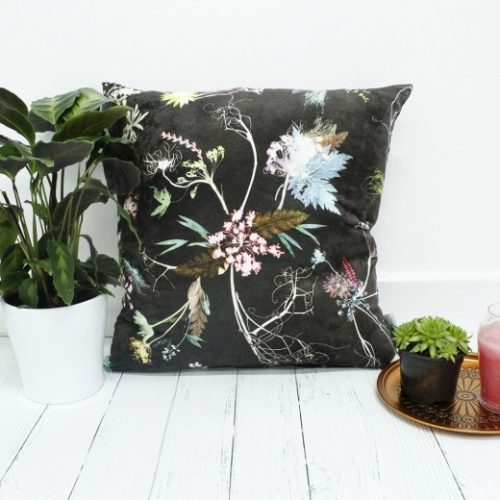 Edwardian Blooms | Dark Chocolate & White Sofa Cushion Country Style