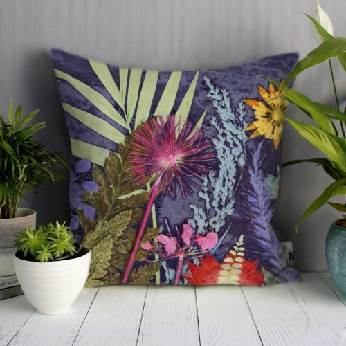 Midnight Jungle 2 | Pink & Blue Sofa Cushion Tropical Interior