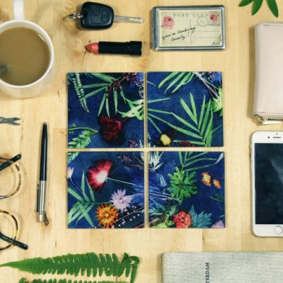 Indigo Tropical | Green & Blue Set of Glass Coasters