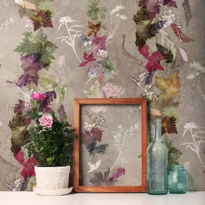 Floral Dance | Green & Pink Designer Wallpaper, Country Style