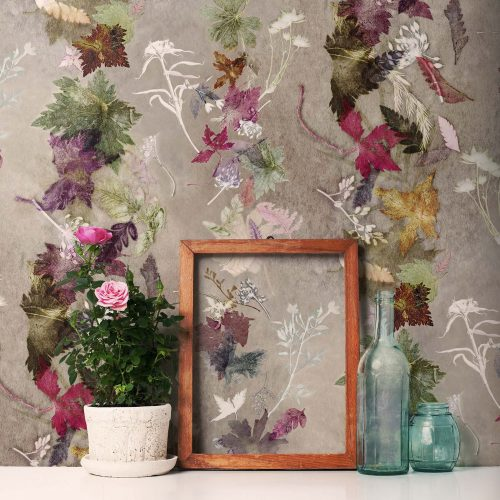Deep Floral Dance - Home Décor Wallpaper close up