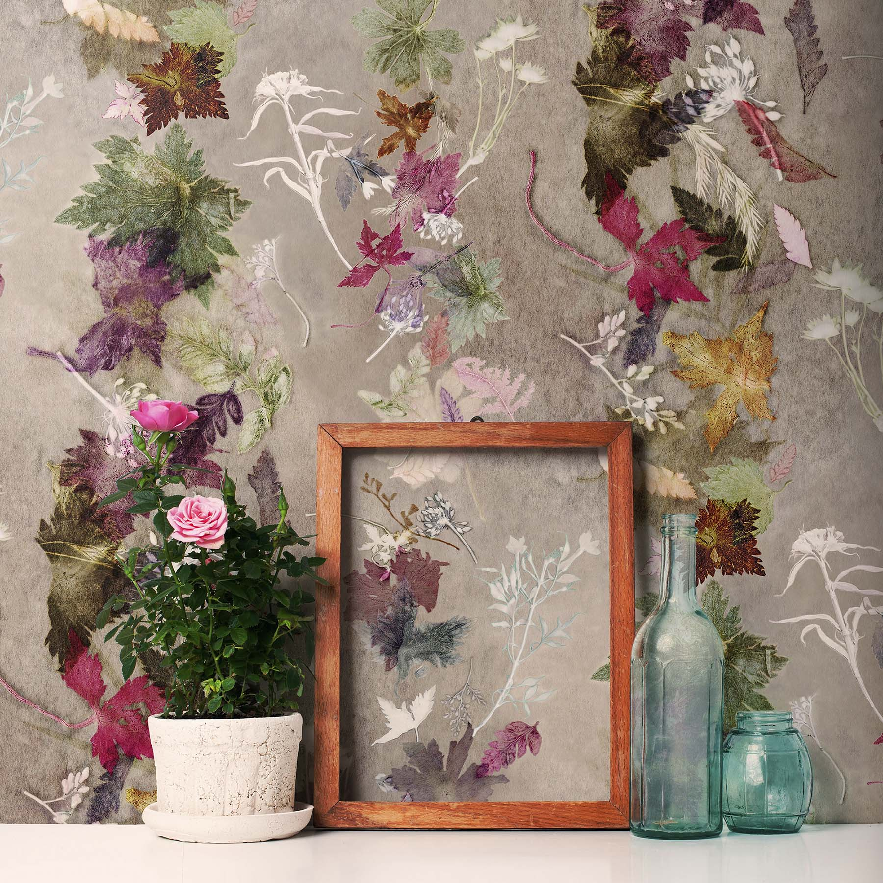 Floral dance green pink designer wallpaper country style for Unique wallpaper for home