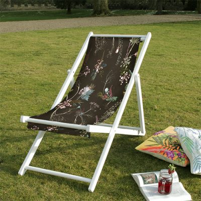 Edwardian Blooms | Brown & White Wood Deckchair, Garden Seating