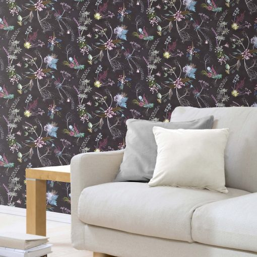 Edwardian Blooms | Brown & White Designer Wallpaper, Country Interior