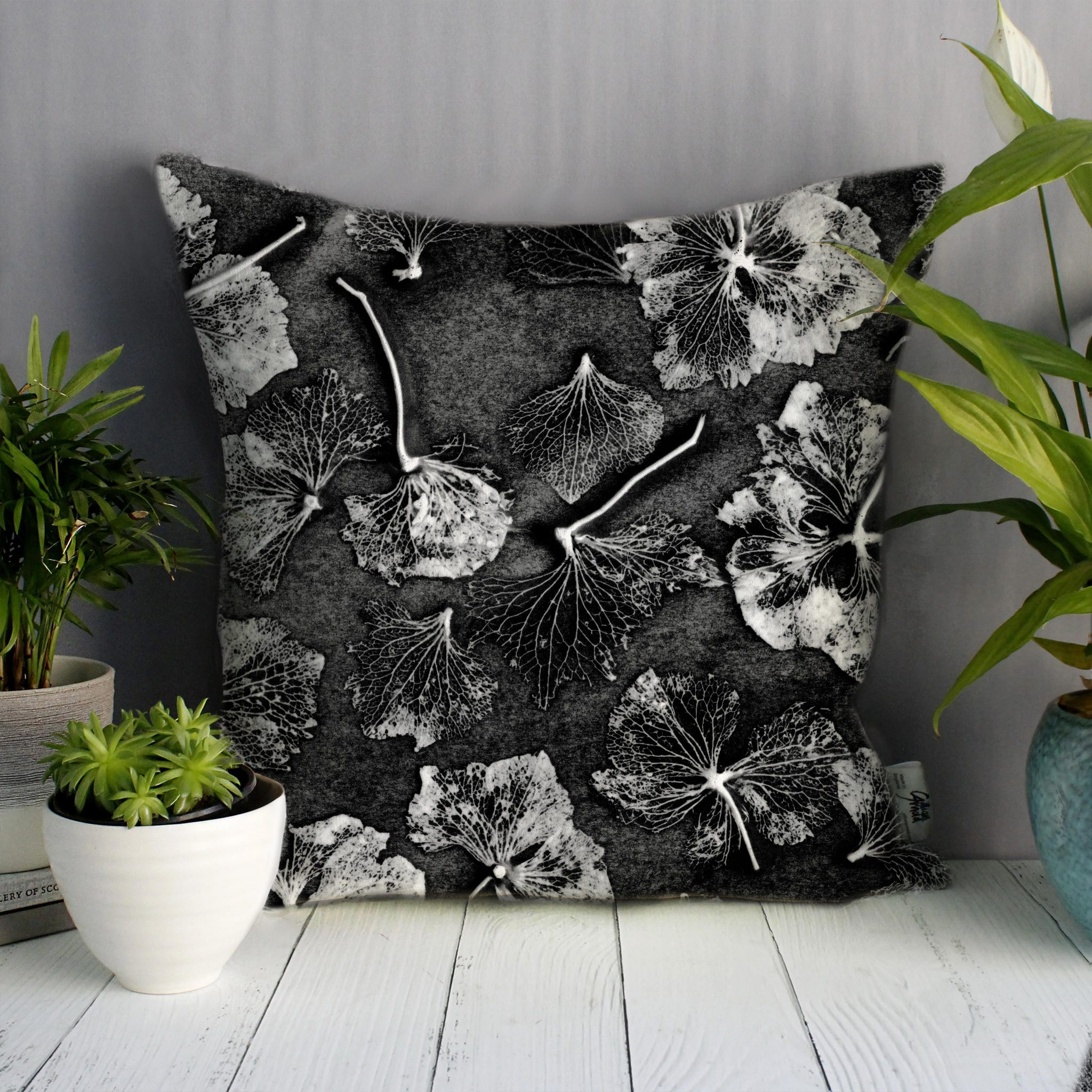 Monochrome Hydrangea | White & Charcoal Sofa Cushion Country Style