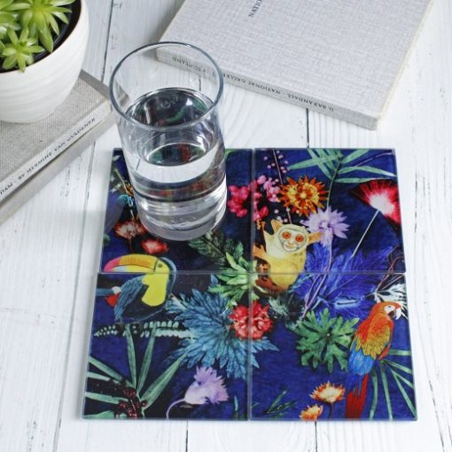 Jungle Surprise | Colourful Hidden Animal Set of Glass Coasters