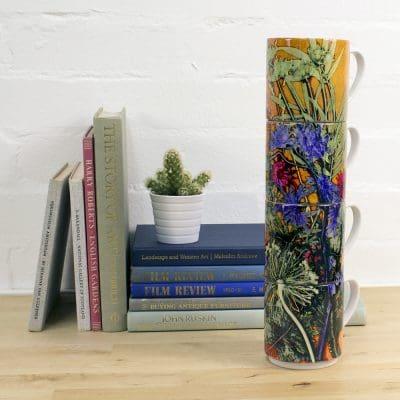 Tropical Sunshine   Blue & Yellow Stacking Mug, Gift Set of 4