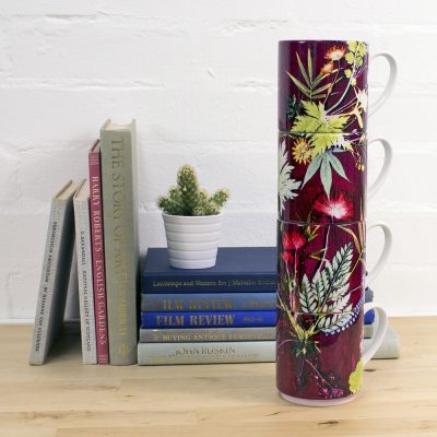 Tropical Wine | Red & Green Stacking Mug, Gift Set of 4