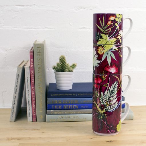 Tropical Wine | Red & Green Stacking Mug, Gift Set of 4