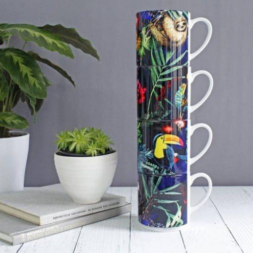 Jungle Surprise | Animal Stacking Mug, Gift Set of 4