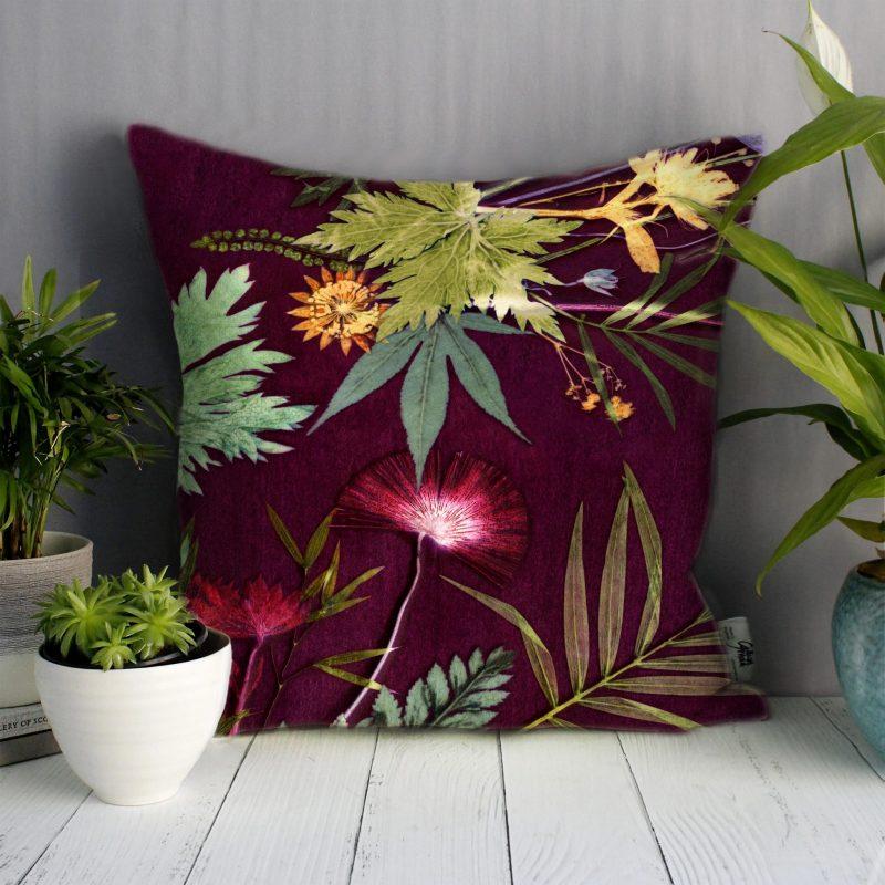 Tropical Wine | Red Wine & Green Sofa Cushion Tropical Interior