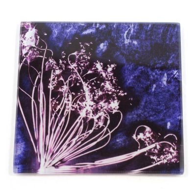 Fennel Love Purple Botanic Style Glass Coaster