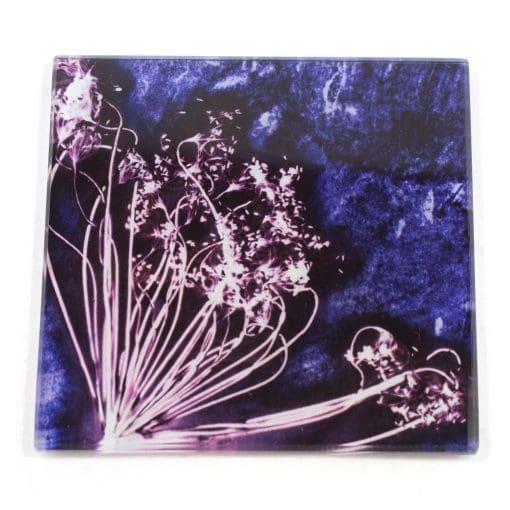 Fennel Love Purple Botanic Style Glass Coaster