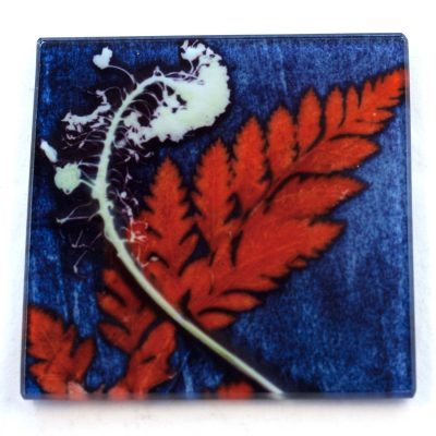 Fern and Grass Botanic Style Glass Coaster