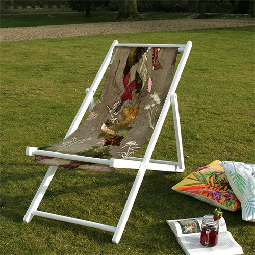 Floral Dance | Brown & Red Wood Deckchair, Garden Furniture