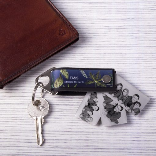 Floral Design Mens Leather Photo Keyring - Personalised Gift