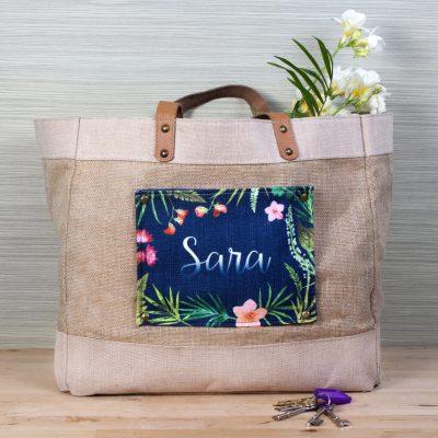 Floral Design Tropical Pocket Shopper Bag - Personalised Gift
