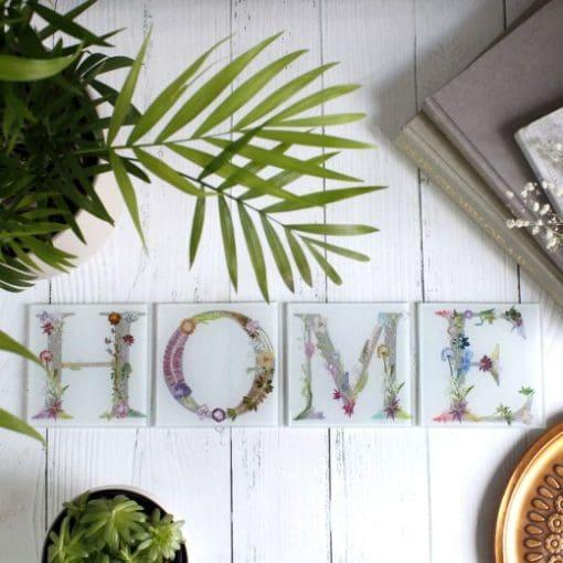 Floral Letter ABC Glass Coastes