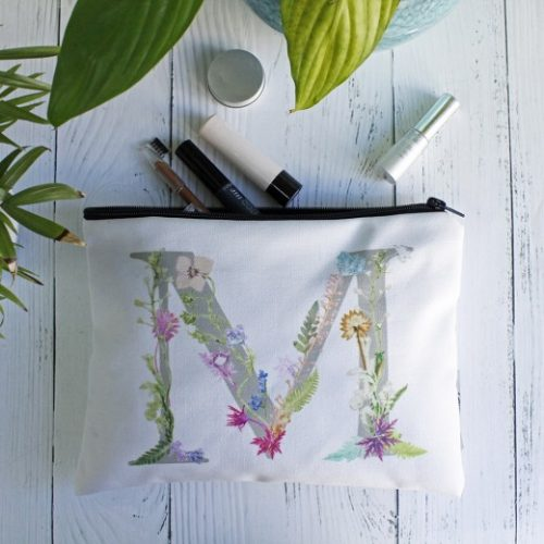 Floral Letter Design Wash Bag - Personalised Gift