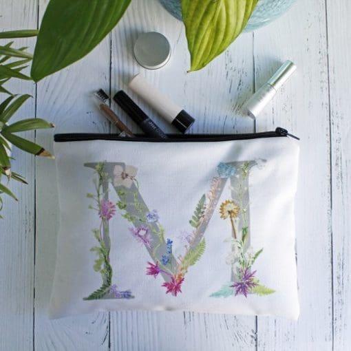 Floral Letter Design Wash Bag - Personalised Gift