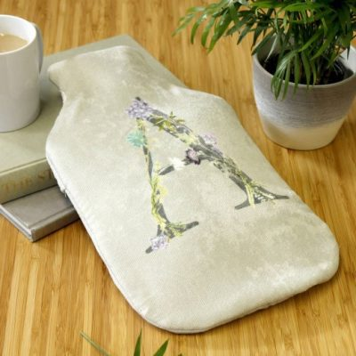 Floral Letter Hot Water Bottle Cover - Personalised Gift
